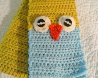 Owl scarf Children's winter scarf Kid gift Chartreuse and blue  Hand knit