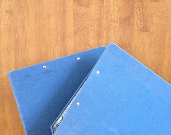 "Set of 2 - 3 ring binder blue classic canvas cloth linen back to school vintage clip large 3"" size"