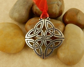 Silver Celtic Knot Christmas Ornament with red organza ribbon