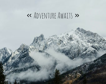 Adventure Awaits, Photo Greeting Card, 4x5 inspirational cards, life event quote, blank, travel move moving goodbye encouragement good luck