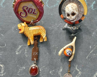 Saturday Night Tiger Assemblage Assymetric  Earrings