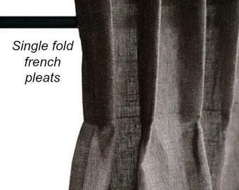 Single fold French pleats, pleated drapes,  steel grey linen drapes, Pleated curtain panels