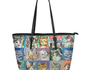Vintage Paint By Numbers Cats Tote Bag - funny cats market bag - vegan leather large zippered handbag