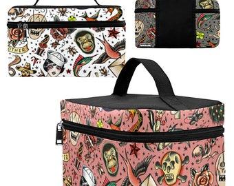 Old School Tattoo Toiletry Bag - vintage tattoo flash Dopp Kit - large zippered makeup bag - black or white background