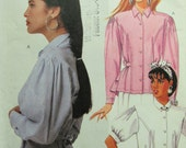 McCalls 3319/Uncut Vintage Sewing Pattern/Misses Blouse with Back Peplum and Ruffle/Size 8/1987