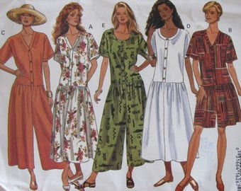 Butterick 6781,  Uncut Misses Sewing Pattern, Size 12-14-16, Fast and Easy Dress and Jumpsuit, 1993