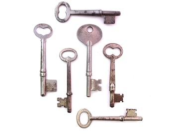 6 Vintage skeleton keys Old skeleton keys Vintage keys Key collection Bridal Key Old keys Skelton keys Old key Group skeleton keys bit #6