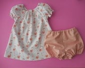 Peachy pink flamingos baby infant sundress pinafore and diaper cover bloomers