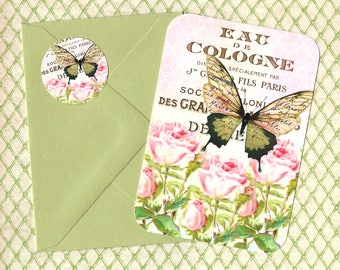 Note Cards, Roses & Butterfly, Set of 4, Stickers, Butterfly Notecards, French Style