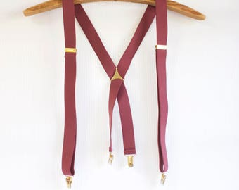 Vintage Mauve Clip on Suspenders