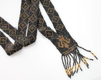 Antique 1920s Flapper Necklace | Fleur De Lis Necklace | Gold and Black Beaded Necklace | 1920s Vintage Sautoir