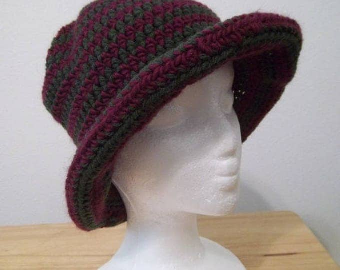 Hat - Striped Crochet Hat with a Roll Up Brim in Winered Red and Green - Size Medium/Large