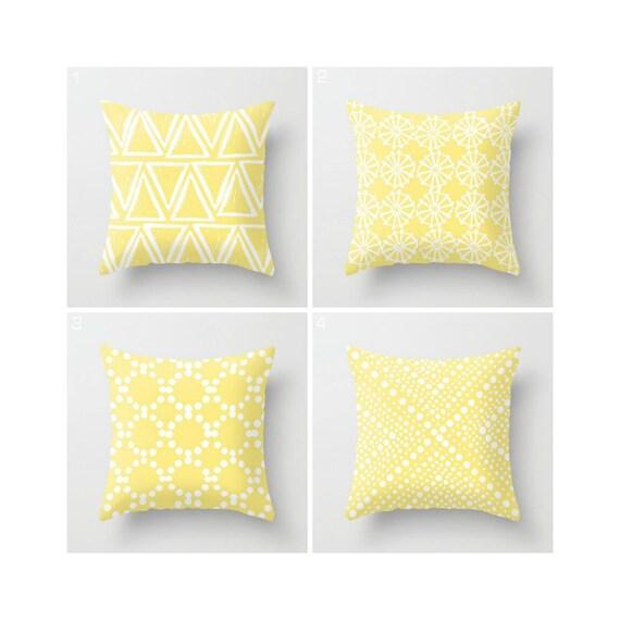 Butter Yellow Throw Pillow - Modern Throw Pillow - Yellow Cushion - White Geometric triangle circle dot - Throw Pillow 16 18 20 24 inch