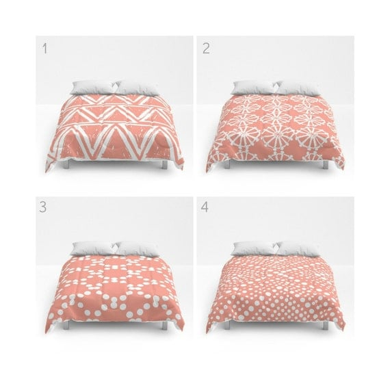 Peach and White Comforter - Queen Comforter - Coral King Comforter - Full Comforter - Peach Twin Comforter Twin XL  Bedding Bedspread