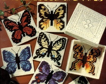 Butterfly Coasters in Plastic Canvas Yellow Blue Purple Green White Brown Needlepoint Embroidery Craft Pattern Leaflet Leisure Arts 1311