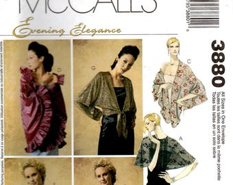 Misses Wraps Round Stole Tied Long Sleeve Triangular Oblong Stole Capelet Adult XS S M L XL McCall's 3880 Uncut Craft Sewing Pattern