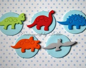 12 Fondant edible cupcake toppers - Dinosaurs animals birthday anniversary boy girl celebration