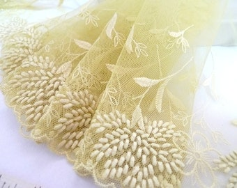 Embroidered lace, Lace trim, Green lace, Wedding lace, Tulle lace, Girls tutu fabric, 2 yards GN057