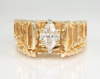 Vintage Marquise Diamond Wedding Ring Set - 14K Gold