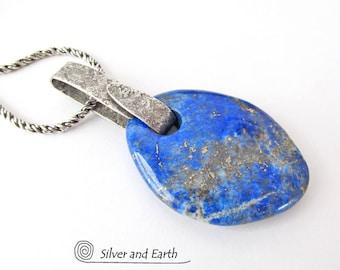 Lapis Lazuli Pendant, Sterling Silver Lapis Necklace, Lapis Jewelry, Natural Stone Necklace, Handmade Silver Jewelry, Big Stone Necklace