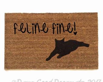 Feline fine! Funny cute feline 60's retro vintage crazy cat kitty doormat