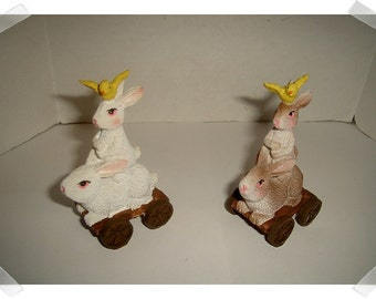 Stacked Miniature Rabbit Figurines on Carts/ Resin/ 2 Color Choices/Minis/Supplies*