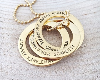 Gold Russian Rings, Hand Stamped Mother Necklace, Russian Rings Necklace, Interconnecting Rings Necklace, Personalized Jewelry For Mom