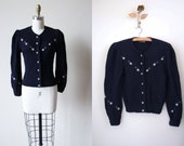 Bavarian Sweater - Vintage Navy Blue Knit Wool Puff Sleeve Embroidered Floral Trachten Cardigan Jacket XS S - Edelweiss Cardigan
