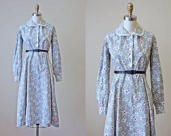 1930s Dress - Vintage 30s Gown - Grey Colorful Floral Print Cotton Day Dress w Peter Pan Collar L XL - Cloud Cover Dress