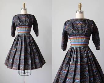 1950s Dress - Vintage 50s Dress - Colorful Black Silk Taffeta Full Skirt Party Dress XS XXS - Stained Glass Dress