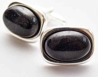 Blue cufflinks. Cuff Links. Blue Sandstone cufflinks. Gemstone cufflinks. Rectangular. Handmade. Gifts For Men. Groom Cufflinks.