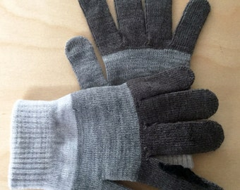 Grey Striped Gloves with Black Mustache Conductive Fingertips - for use with smart devices