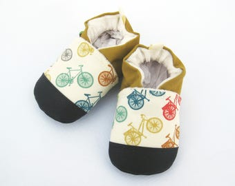 Organic Vegan Fun Bikes with Mustard/ non-slip soft sole baby shoes / made to order / babies toddlers preschool