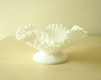 Fenton hobnail milk glass bowl, low comport, 1960s collectible decor for fruit or candy, dressing table or vanity, white ruffled milk glass