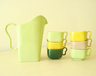 Franciscan Tiempo pitcher & coffee cups, Lime Green Sprout, chartruese green kitchen decor, mid-century ceramic dinnerware, Mustard, Olive