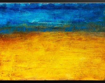 Golden Horizon - 36x24 - Abstract Acrylic Painting - Contemporary Modern Wall Art