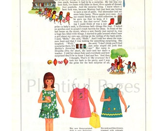 1966 Betsy McCall Vintage Paper Doll, McCall's Magazine, Retro Paper Doll, 1960's Paper Doll, Vintage Illustration, Betsy on a Treasure Hunt
