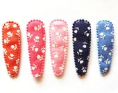 25 pcs -  Cute Tiny Tulip Printed on Jean Hair Clip COVERS -  MIX COLOR - size 55 mm