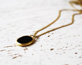 14k Gold Necklace / 14k Gold Onyx Necklace / Onyx Charm / Gold Onyx Pendant / Fine Jewelry / Onyx Gold Necklace / Gift For Her