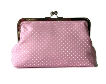 Pink and white polka dot  Bridesmaids Clutches  Wedding Purse, destination wedding, formal wedding