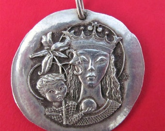 Madonna And Child Vintage Religious Medal Modernist French Silver Pendant    SS124