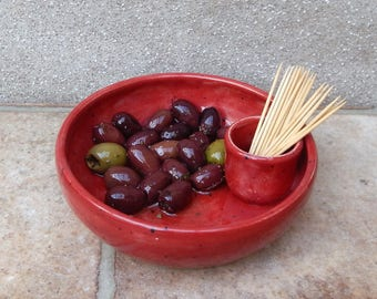 Olive serving dish hand thrown bowl hors d'oeuvres pottery ceramic