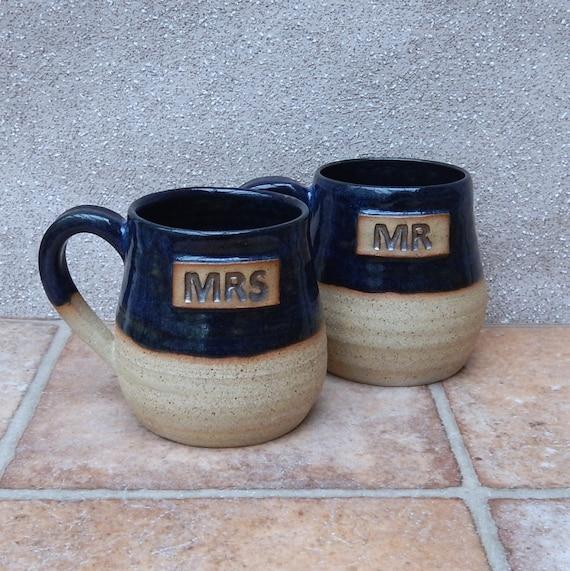 Pair of Mr and Mrs cuddle mug coffee tea cup in stoneware wheel thrown pottery ceramic handmade