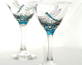 Dragonfly Martini Glasses Hand Painted Dragonfly Glassware Southwestern Art Decor~ Pair