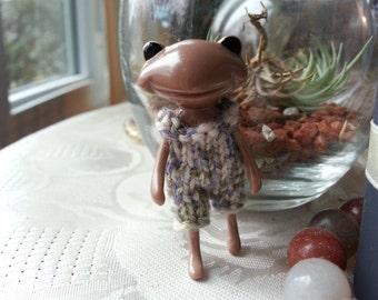 Fortune Wanda Friend Knit Romper - blue - Wanda Frog - Wonder frog