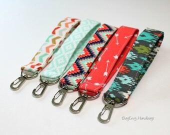 Key Chain / Key Fob - Swivel Clasp Key Wristlet - Choose Your Fabric - Gold/ Mint /Coral/ Black - Floral - Herringbone - Quatrefoil - Sale