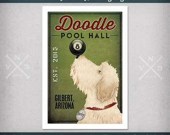 Doodle and Others Goldendoodle Labradoodle Pool Hall FREE CUSTOMIZATION   Print Dog Sign