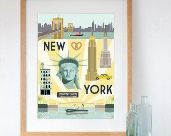 Art Print of New York City Retro Travel Poster Style