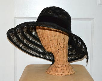 Vintage 60s Straw Hat - Audrey Style - Mid Century Mod - Wide Brimmed Sun Hat - s