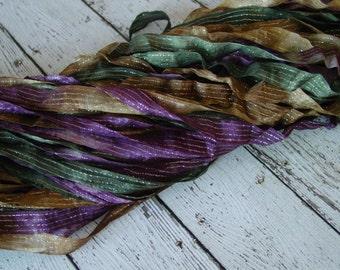 NeW dye batch - Hand dyed ribbon - OLD WORLD half inch dazzle ribbon, 5 yards